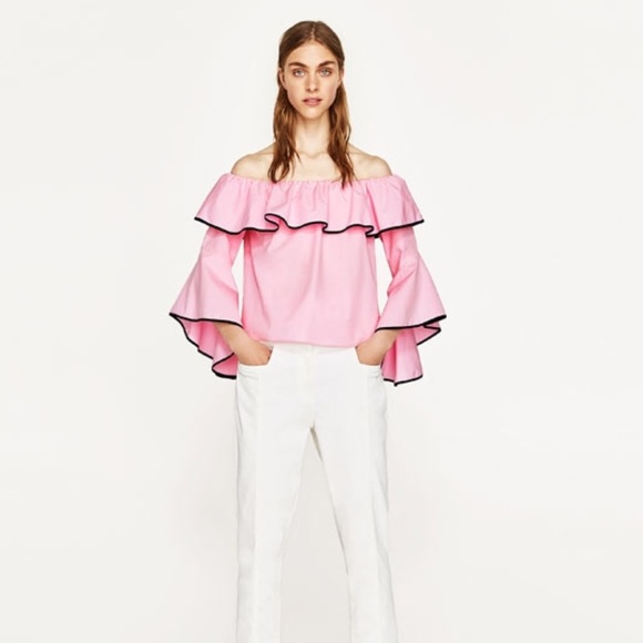 e7ecfebfee0198 Zara pink off shoulders blouse
